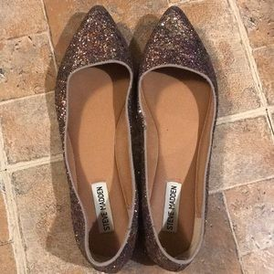💞STEVE MADDEN PINK SEQUIN POINTY TOE FLATS 10💞